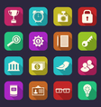 Set flat icons of business office and financial vector