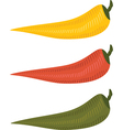 Three chili peppers vector