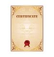 Gold certificate with a laurel wreath vector