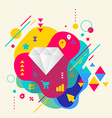 Diamond on abstract colorful spotted background vector