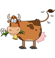 Brown dairy cow with flower in mouth vector