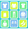 Set of 9 bright icons of men clothing vector