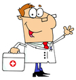 Doctor man carrying his first aid bag vector