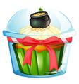 A cupcake with a pot of coins vector