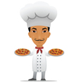 Chef with two pizzas vector