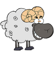Black ram cartoon mascot character vector