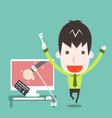 Catch a cyber thief cartoon business vector