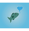 Fish with bubble heart vector