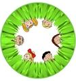 Children and grass vector