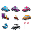 Cars motorcycles and traffic signs set isometric vector