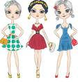 Fashion girls top model in elegant dresses vector
