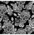 Skull and flowers monochrome seamless background vector
