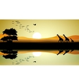 Beauty safari of giraffe silhouette vector