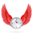 Clock and red wings vector