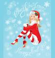 Blond pin up christmas girl wearing santa claus su vector