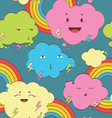 Happy rainy color clouds seamless pattern vector