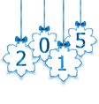 Happy new year in hanging paper snowflakes with vector