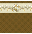 Hand draw flower on checked brown background vector