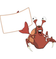 Red crab with the empty blank cartoon vector