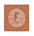 Seahorse fish woodcut button vintage vector