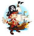 Pirate kid and his big war ship vector