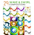Mega set of waves and swirls - design templates vector