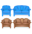 Set of upholstered furniture sofa chair vector