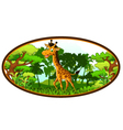 Giraffe cartoon on forest background vector