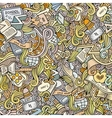Cartoon doodles school seamless pattern vector