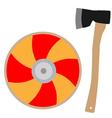 Viking shield and axe vector
