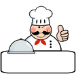 Winked chef banner with platter vector