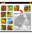 Cartoon animals jigsaw puzzle game vector