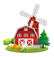A farm with a red house and a windmill vector