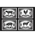 Set of postage stamps with pets vector