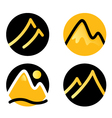 Mountain icons set isolated on white - gold vector