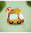 Summer travel bus in retro style vector