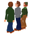 Cartoon people standing and looking on something vector