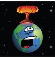 Nuclear weapon exploding on cartoon earth vector