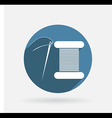 Spool of thread and needle circle blue icon with vector