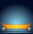 Wheels grunge tire track and orange ribbon vector