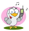 Bird holding a cell phone vector