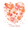 Watercolor heart  valentines day background vector