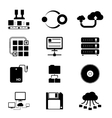 Storage and data transfer icons on white vector
