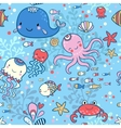 Cartoon marine seamless pattern for wallpapers vector