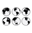 Six black and white earth globes vector