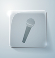 Microphone glass square icon vector
