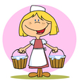 Friendly blonde maid carrying milk buckets vector