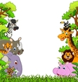 Animal cartoon with tropical forest background vector