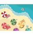 Summer beach in flat design aerial view sea side vector
