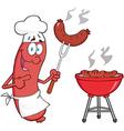 Happy sausage chef cook at barbecue vector